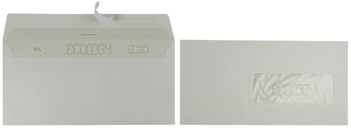 Vensterenveloppen ft 114 x 229 mm, met strip, met venster rechts, pak van 25 stuks