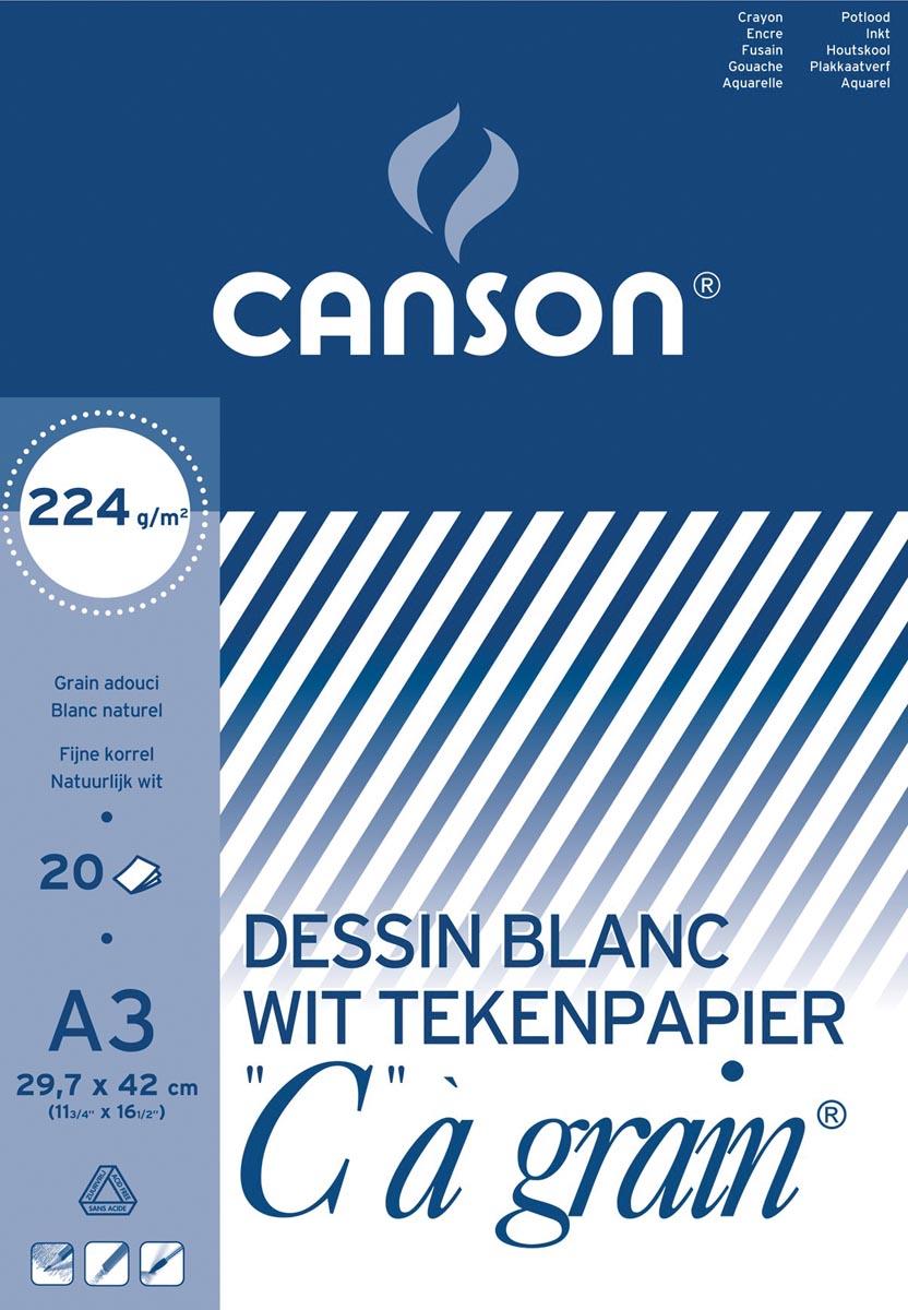 Canson tekenblok C � grain 224 g/m�, ft 29,7 x 42 cm (A3)