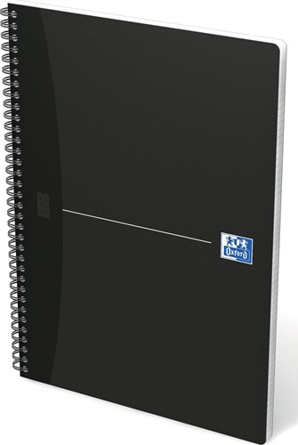 Oxford OFFICE Essentials spiraalblok smart black, 180 bladzijden, ft A4, geruit 5 mm