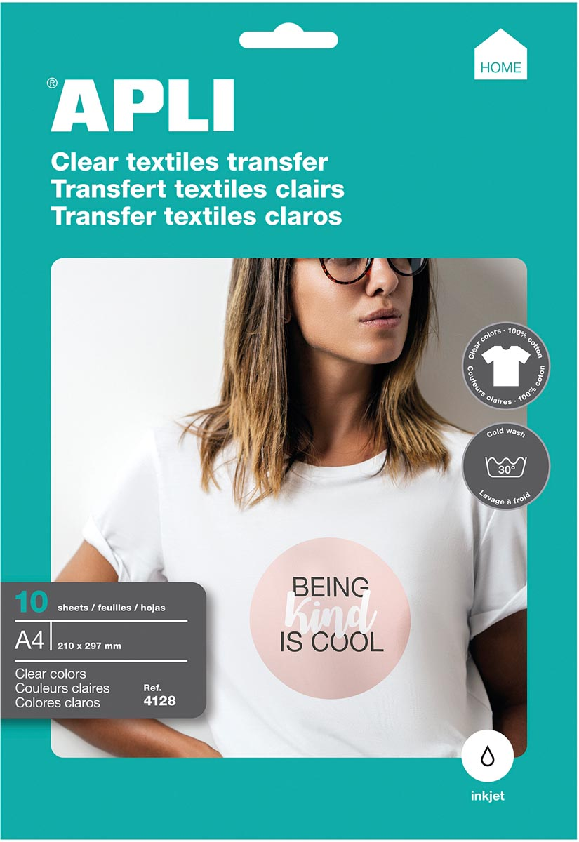 Apli T-shirt Transfer Paper voor licht of wit textiel, pak met 10 vellen