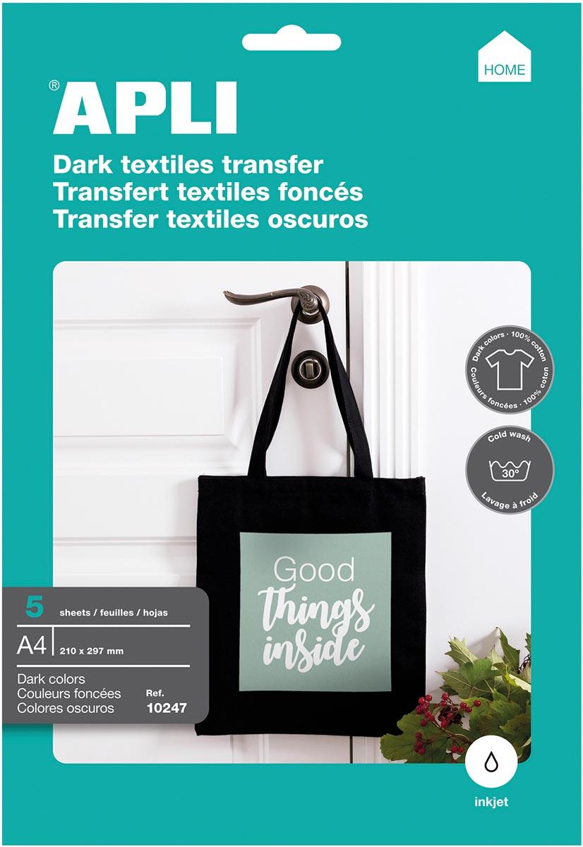 Apli T-shirt Transfer Paper voor donker of zwart textiel, pak met 5 vellen