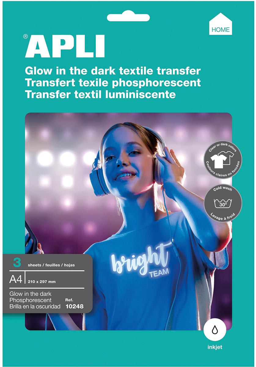 Apli T-shirt Transfer Paper voor fluorescerend effect, pak met 3 vellen