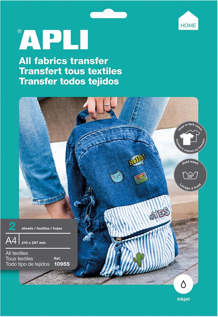 Apli T-shirt Transfer Paper voor allerlei textiel, pak met 2 vellen