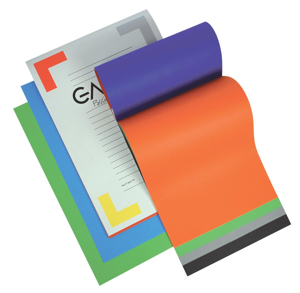 Gallery gekleurd tekenpapier Multicolor, ft 24,5 x 34,5 cm, 120 g/m�, blok van 20 vel