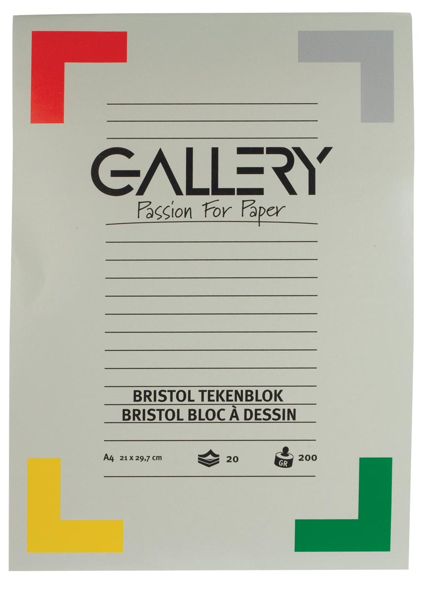 Gallery Bristol tekenblok, ft 21 x 29,7 cm , A4, 200 g m�, 20 vel