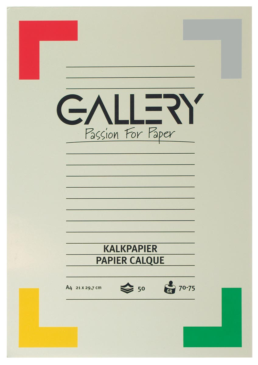 Gallery kalkpapier, ft 21 x 29,7 cm (A4), blok van 50 vel