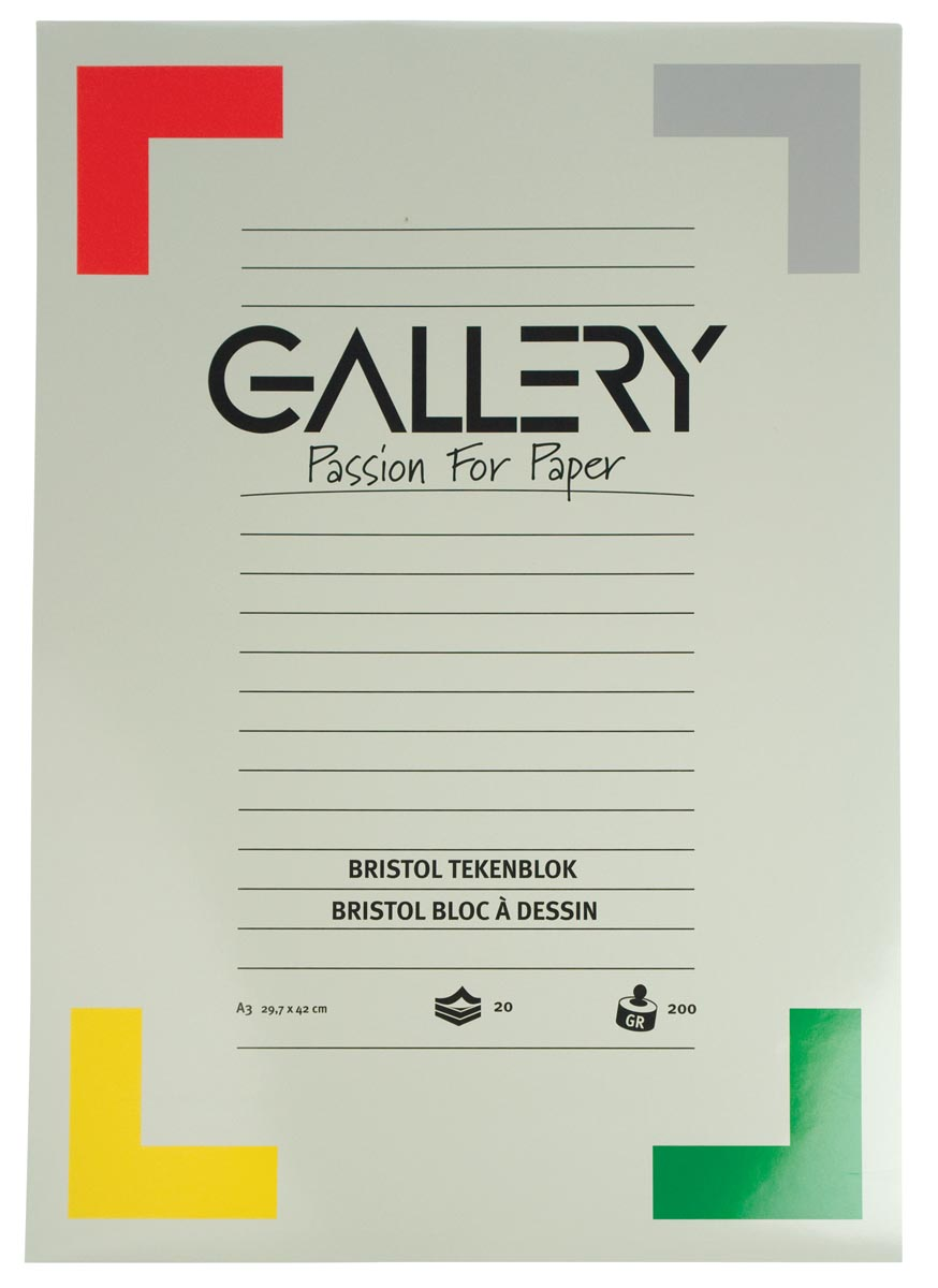 Gallery Bristol tekenblok, ft 29,7 x 42 cm, A3, 200 g m�, 20 vel