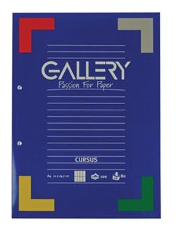 Gallery cursusblok, ft A4, 90 g/m², 2-gaatsperforatie, gelijnd, 100 vel