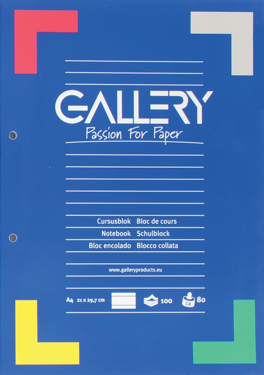 Gallery cursusblok, ft A4, 80 g/m�, 2-gaatsperforatie, gelijnd, 100 vel