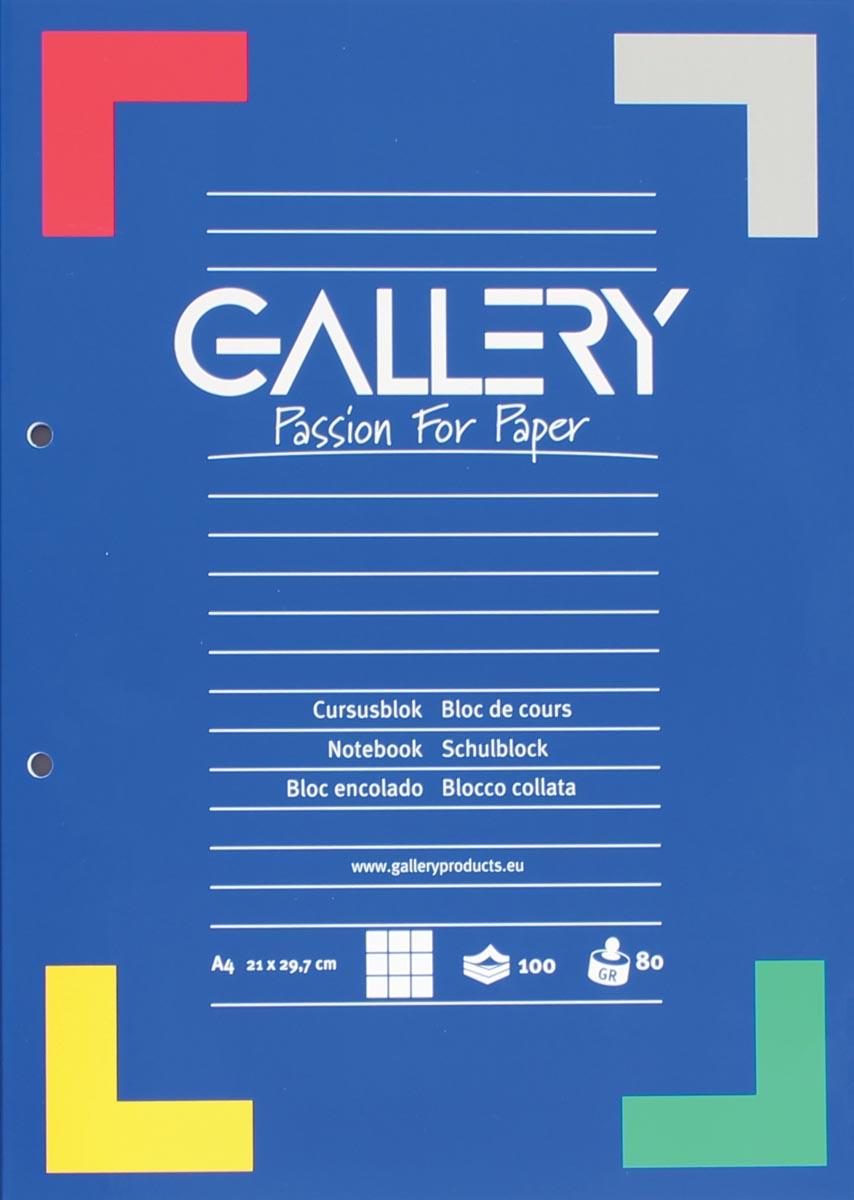 Gallery cursusblok, ft A4, 80 g/m�, 2-gaatsperforatie, geruit 5 mm, 100 vel
