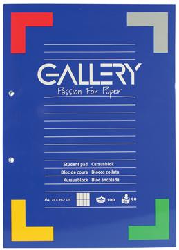 Gallery cursusblok, ft A4, 90 g/m², 2-gaatsperforatie, commercieel geruit, 100 vel