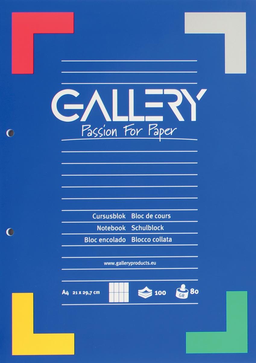 Gallery cursusblok, ft A4, 80 g/m�, 2-gaatsperforatie, commercieel geruit, 100 vel