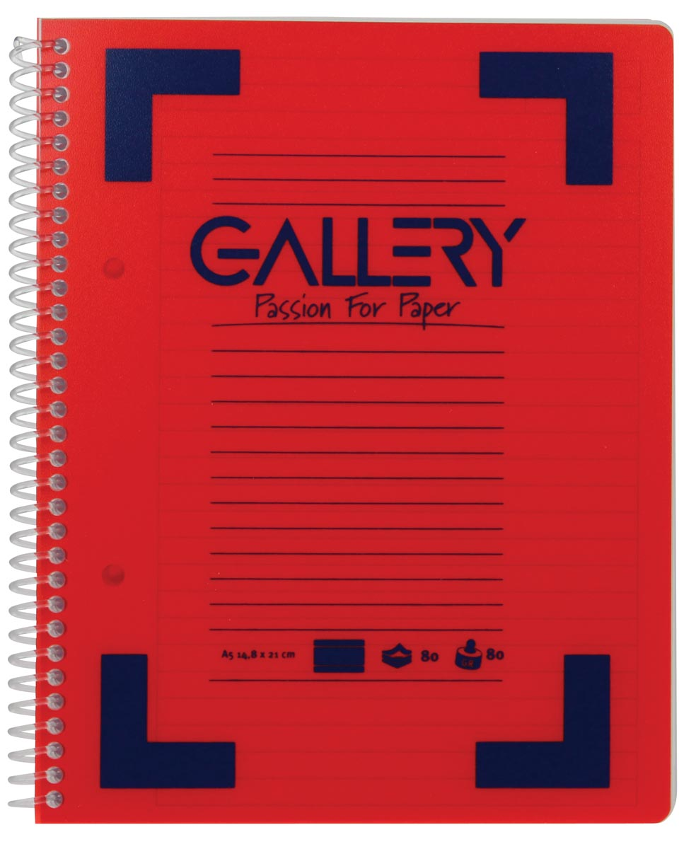 Gallery Traditional spiraalschrift ft A5, gelijnd, geassorteerde kleuren, 160 bladzijden-2