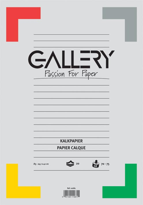 Gallery kalkpapier, ft 29,7 x 42 cm (A3), blok van 20 vel