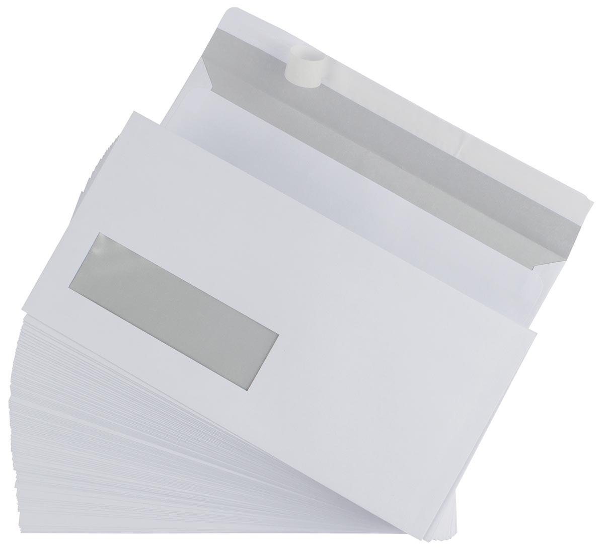 Gallery enveloppen ft 110 x 220 mm, venster links, stripsluiting, doos van 500 stuks