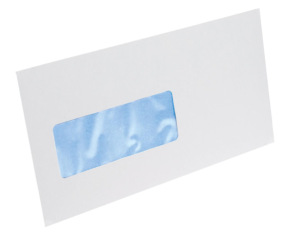 Gallery enveloppen ft 114 x 229 mm, venster links, stripsluiting, doos van 500 stuks