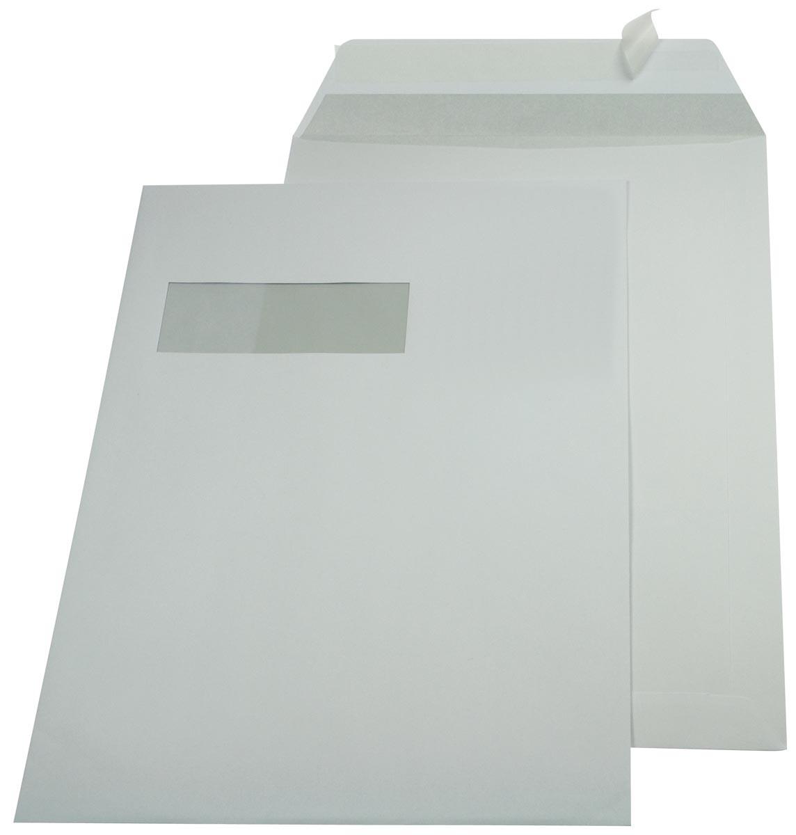 Gallery enveloppen ft 229 x 324 mm, venster links, stripsluiting, binnenzijde grijs, doos van 250 st