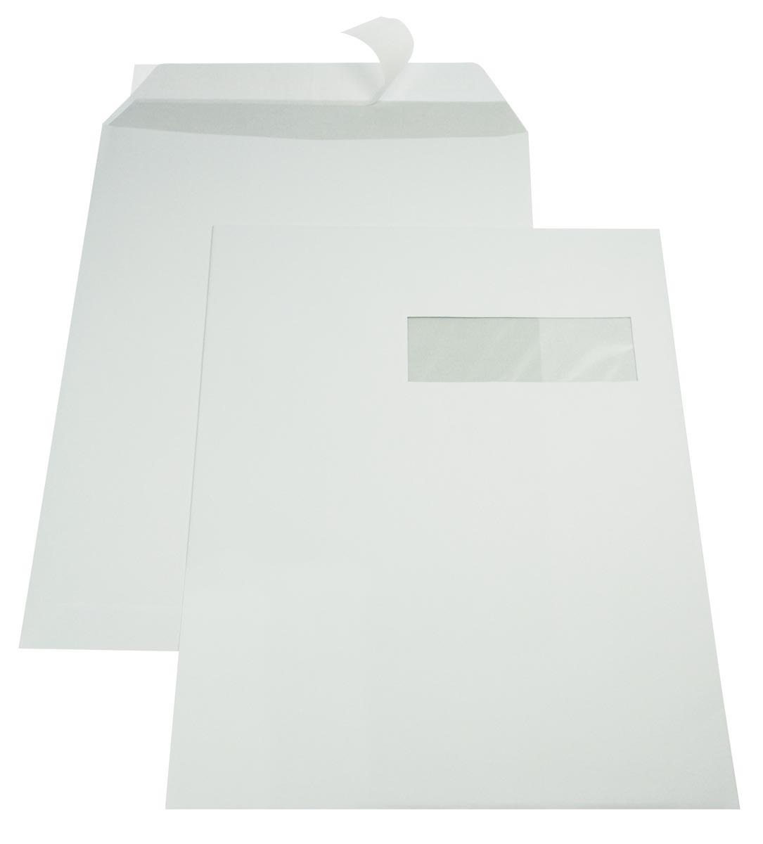 Gallery enveloppen ft 229 x 324 mm, venster rechts, stripsluiting, binnenzijde grijs, doos van 250 s