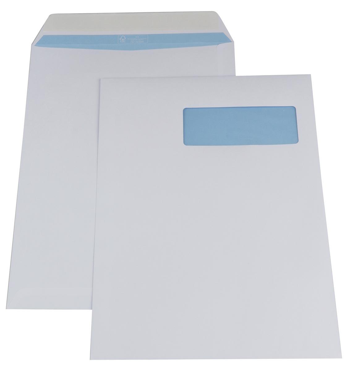 Gallery enveloppen ft 230 x 310 mm, venster rechts, stripsluiting, binnenzijde blauw, doos van 250 s