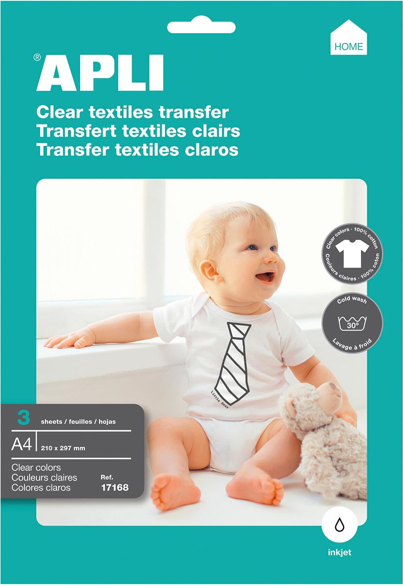 Apli T-shirt Transfer Paper voor licht of wit textiel, pak met 3 vellen