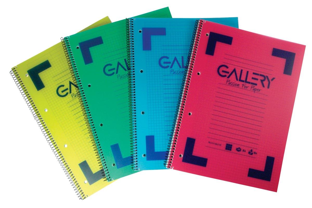 Gallery schrift ft A4, gelijnd, 4-gaatsperforatie, geassorteerde kleuren, 160 bladzijden