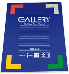 Gallery cursusblok, ft 22 x 29,5 cm, 80 g/m², 23-gaatsperforatie, geruit 5 mm, 100 vel