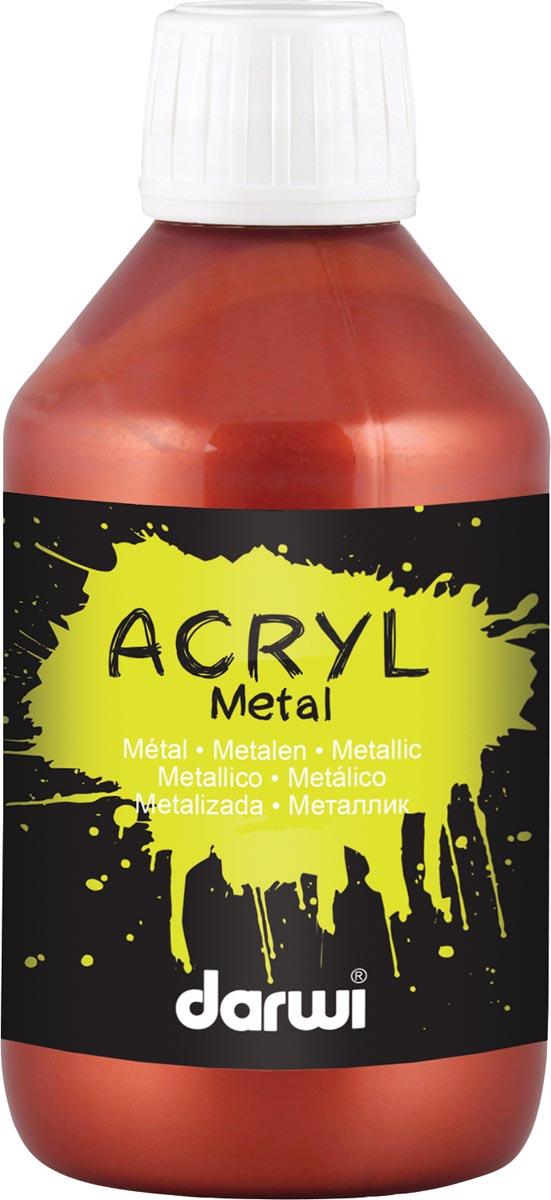 Darwi acrylverf Metal effect, flacon van 250 ml, leder