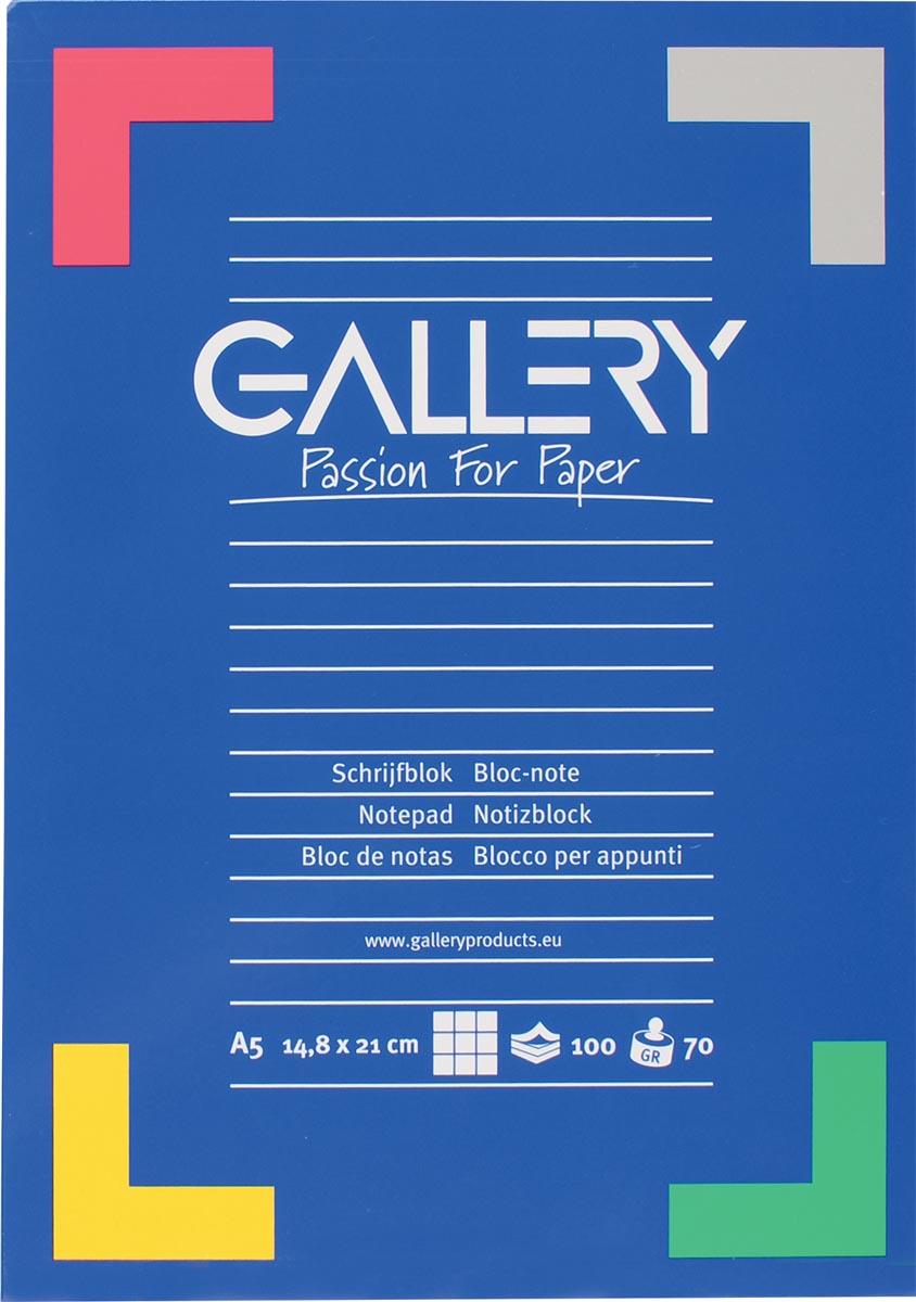 Gallery bloc de papier à lettres ft A5, 100 feuilles, quadrillé 5 mm