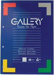 Gallery cursusblok, ft A4, 80 g/m², 4-gaatsperforatie, gelijnd, 100 vel