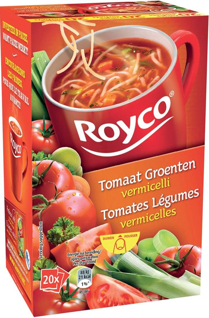 royco minute soup tomaat groenten vermicelli pak van 20 zakjes bij