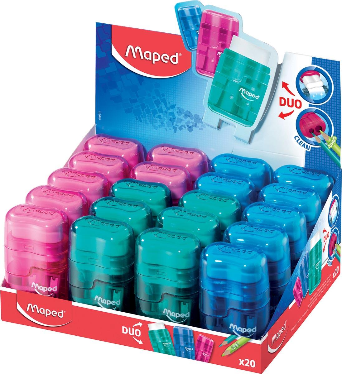 Maped potloodslijper/gum Connect transparant 2-gaats, display van 20 stuks in geassorteerde kleuren