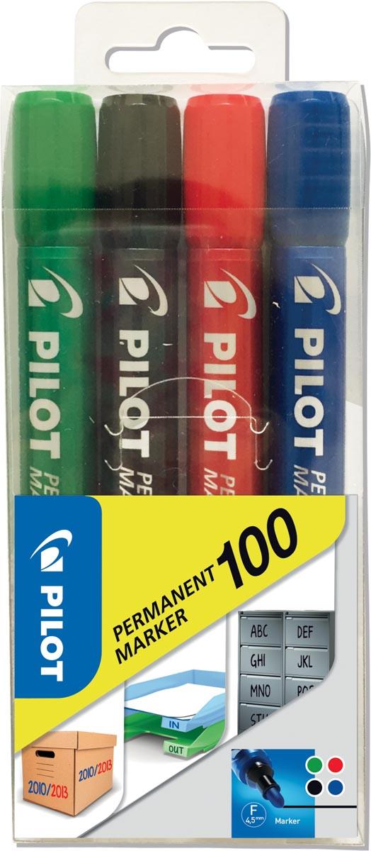 Pilot permanent marker 100, blister met 4 stuks in geassorteerde kleuren