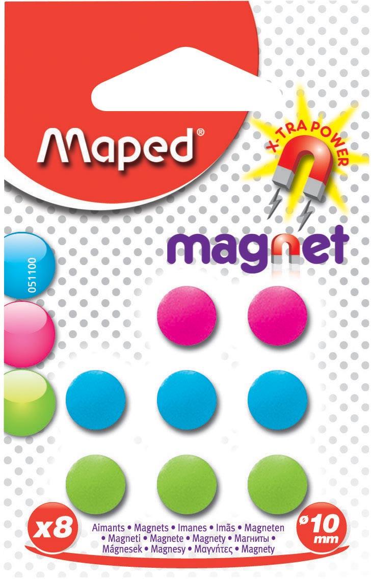 Maped magneten op blister diameter 10 mm, 8 stuks, 1 kleur per blister (groen, blauw of fuchsia)