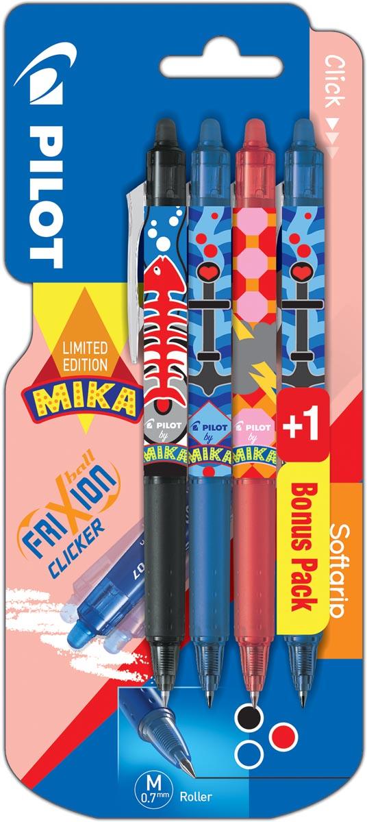 Pilot roller FriXion Clicker Mika, blister van 3+1 stuks in geassorteerde kleuren, blauw gratis