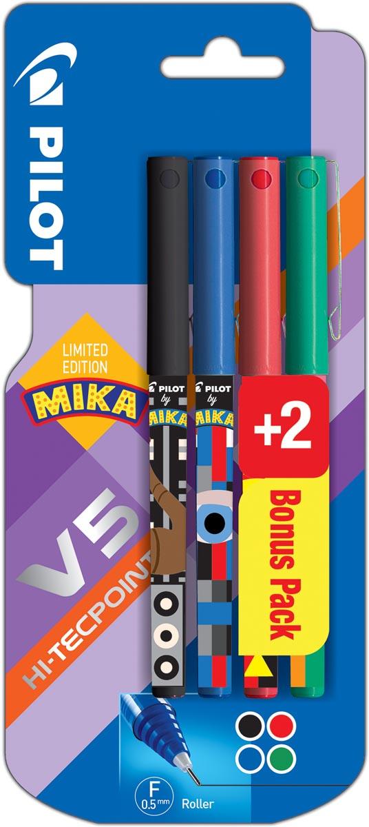 Pilot roller V-5 Mika, blister van 2+2 stuks gratis in geassorteerde kleuren