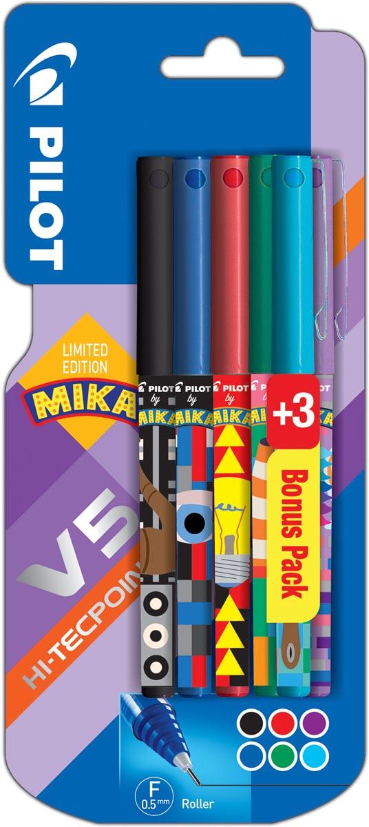 Pilot roller V-5 Mika, blister van 3+3 stuks gratis in geassorteerde kleuren
