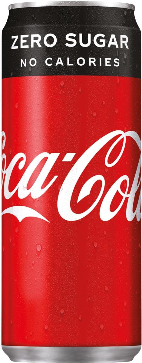 Coca-Cola Zero frisdrank, sleek blik van 33 cl, pak van 24 stuks