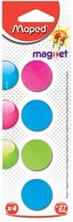 Maped magneten op blister diameter 27 mm, 4 stuks, 1 kleur per blister (groen, blauw of fuchsia)