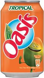 Oasis Tropical vruchtenlimonade, blik van 33 cl, pak van 24 stuks