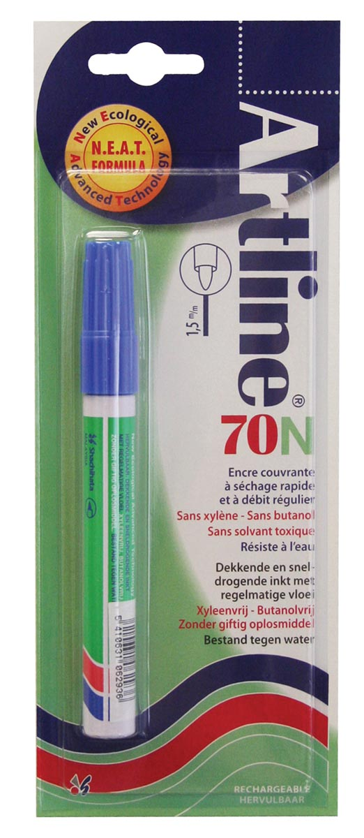 Permanent marker Artline 70 blauw (op blister)