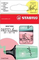 Markeerstift Stabilo Boss Mini PastelLove, doosje met 3 stuks in geassorteerde pastelkleuren
