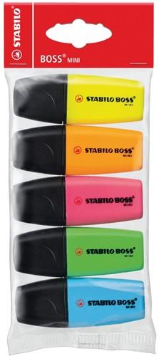 STABILO BOSS MINI markeerstift, etui van 5 stuks in blauw, geel, groen, oranje en roze