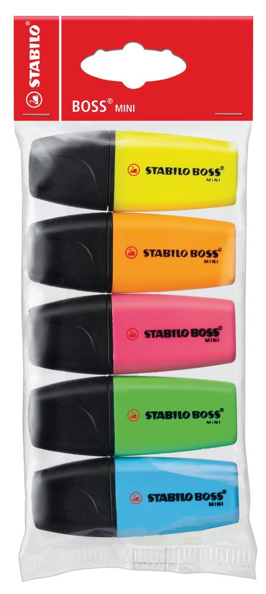 Stabilo Markeerstift Boss Mini etui van 5 stuks: geel, oranje, groen, blauw en roze