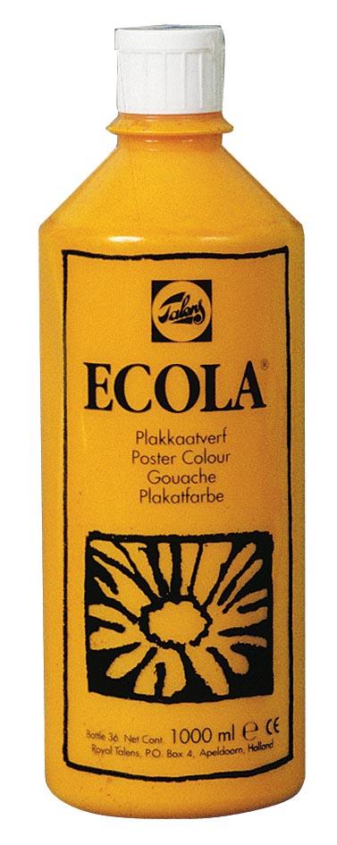Talens Ecola plakkaatverf flacon van 1000 ml, geel