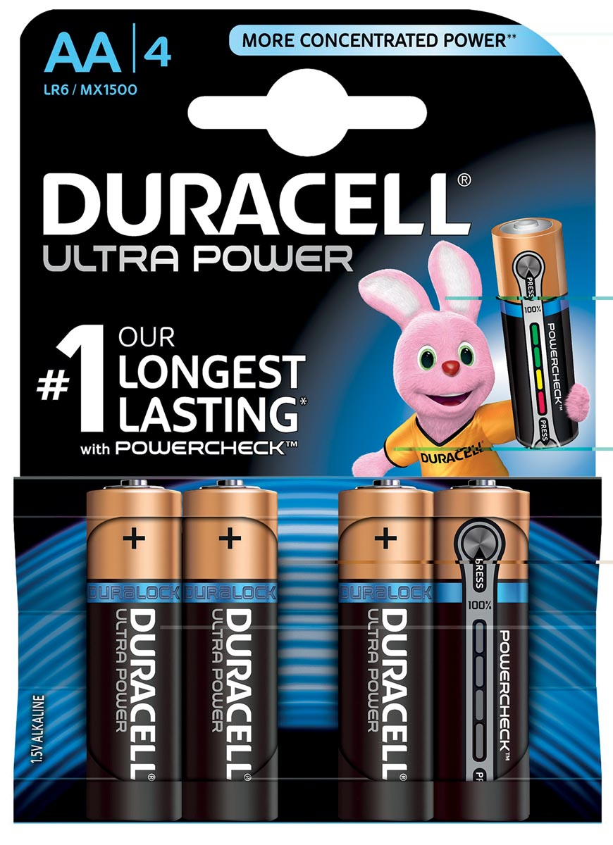 Duracell Batterijen AA Ultra Power Duralock LR6 4 Stuks