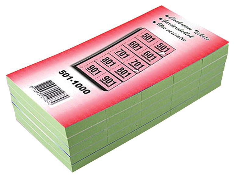 Garderobeblokken nummers van 501 t.e.m. 1.000, groen
