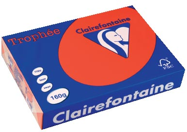 Clairefontaine Troph�e Intens A4 koraalrood, 160 g, 250 vel