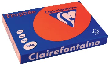 Clairefontaine Troph�e Intens A3 koraalrood, 160 g, 250 vel