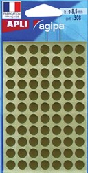 Agipa ronde etiketten in etui diameter 8 mm, goud, 308 stuks, 77 per blad