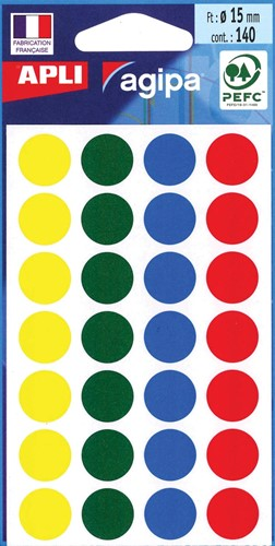 Agipa ronde etiketten in etui diameter 15 mm, geassorteerde kleuren, 140 stuks, 28 per blad